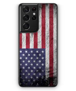 Samsung Galaxy S21 Ultra Silikon Hülle - USA Amerika Splash Flagge
