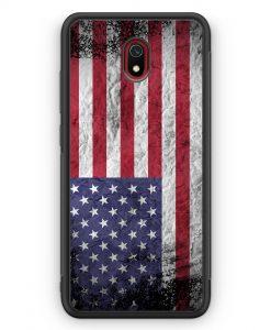 Xiaomi Redmi 8A Silikon Hülle - USA Amerika Splash Flagge