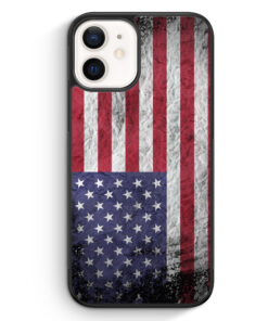 iPhone 12 mini Silikon Hülle - USA Amerika Splash Flagge