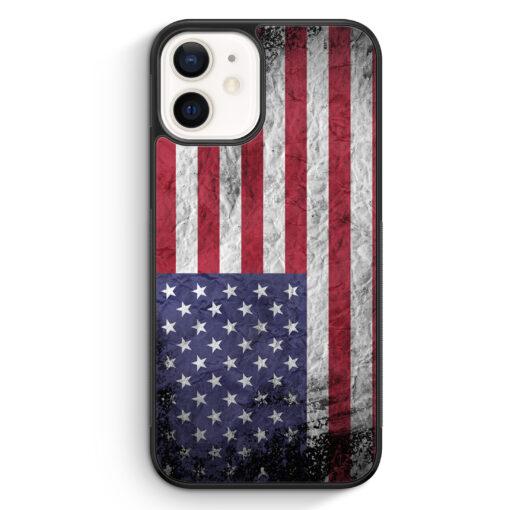 iPhone 12 mini Silikon Hülle - USA Amerika Splash Flagge