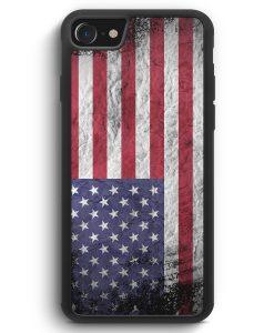 iPhone SE 2020 Silikon Hülle - USA Amerika Splash Flagge
