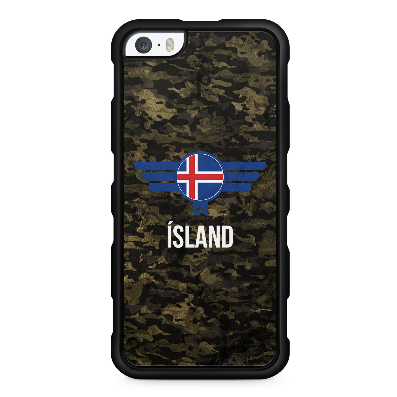 Island Iceland Camouflage mit Schriftzug - Silikon Handyhülle für iPhone SE