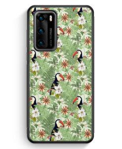 Huawei P40 Silikon Hülle - Tukan Muster Tropisch