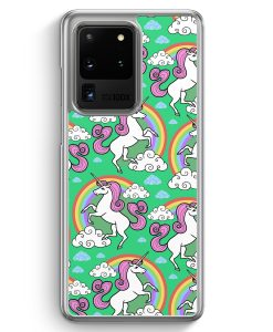 Samsung Galaxy S20 Ultra Hülle - Einhorn Muster Minze