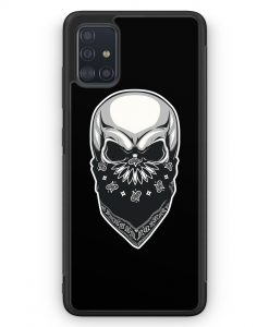 Samsung Galaxy A51 Silikon Hülle - Totenkopf Bandana im Gesicht