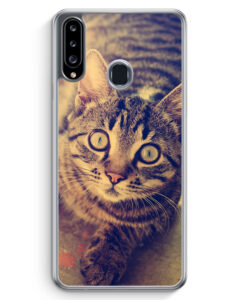 Samsung Galaxy A20s Hülle - Schockierte Katze Foto