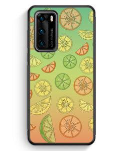 Huawei P40 Silikon Hülle - Zitrus Limette Muster