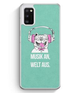 Samsung Galaxy A41 Hülle - Mops - Musik An - Welt Aus
