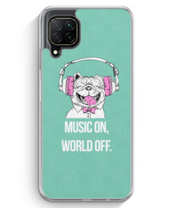 Huawei P40 lite Hülle - Mops - Music On - World Off