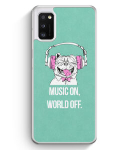 Samsung Galaxy A41 Hülle - Mops - Music On - World Off