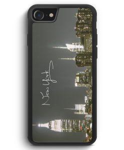 iPhone SE 2020 Silikon Hülle - New York City Schriftzug Skyline