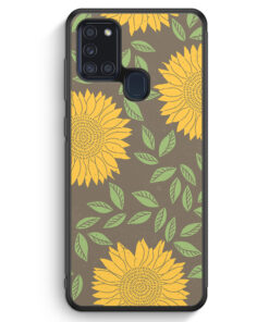 Samsung Galaxy A21s Silikon Hülle - Sonnenblumen Muster