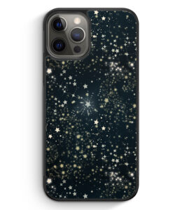 iPhone 12 Pro Silikon Hülle - Sternenhimmel Schwarz