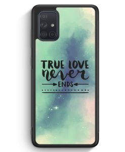 Samsung Galaxy A71 Silikon Hülle - True Love Never Ends Galaxy Pastell