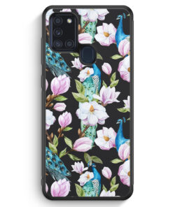 Samsung Galaxy A21s Silikon Hülle - Peacock Pfau Muster