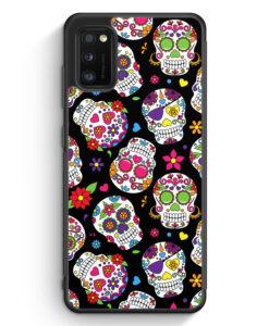 Samsung Galaxy A41 Silikon Hülle - Totenkopf Blumen Muster BK