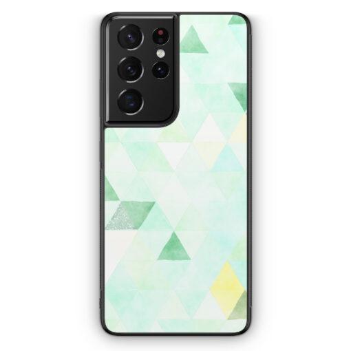 Samsung Galaxy S21 Ultra Silikon Hülle - Aztek Muster Grüne Dreiecke