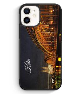 iPhone 12 Silikon Hülle - Köln Schriftzug Skyline Foto