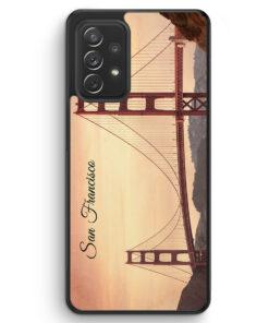 San Francisco Schriftzug Golden Gate Bridge - Silikon Hülle für Samsung Galaxy A52