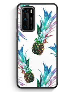 Huawei P40 Silikon Hülle - Ananas Tropical Blau Grün
