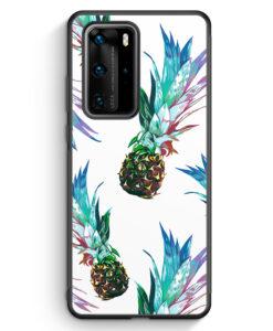 Huawei P40 Pro Silikon Hülle - Ananas Tropical Blau Grün