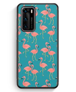 Huawei P40 Silikon Hülle - Flamingo Tropical Muster Blau