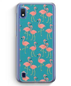 Samsung Galaxy A10 Hülle - Flamingo Tropical Muster Blau