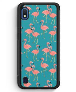 Samsung Galaxy A10 Silikon Hülle - Flamingo Tropical Muster Blau