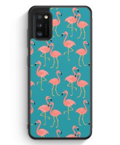 Samsung Galaxy A41 Silikon Hülle - Flamingo Tropical Muster Blau