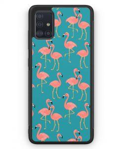 Samsung Galaxy A51 Silikon Hülle - Flamingo Tropical Muster Blau