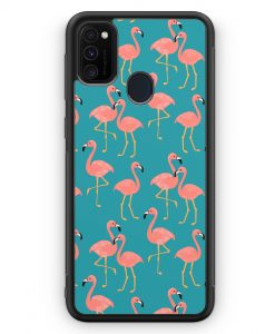 Samsung Galaxy M30s Silikon Hülle - Flamingo Tropical Muster Blau