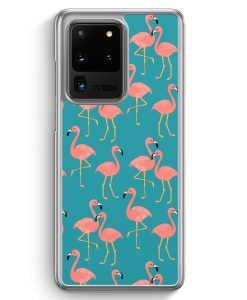 Samsung Galaxy S20 Ultra Hülle - Flamingo Tropical Muster Blau
