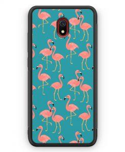 Xiaomi Redmi 8A Silikon Hülle - Flamingo Tropical Muster Blau