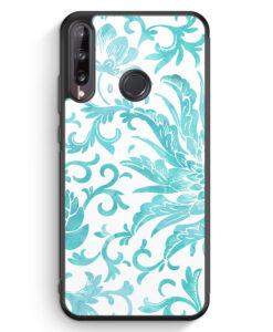 Huawei P40 lite E Silikon Hülle - Hellblaue Blüten Wasserfarben Muster