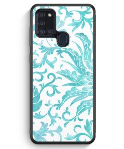 Samsung Galaxy A21s Silikon Hülle - Hellblaue Blüten Wasserfarben Muster