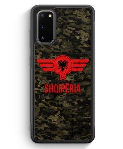 Samsung Galaxy S20 Silikon Hülle - Albanien Camouflage mit Schriftzug