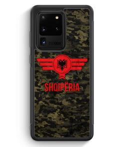 Samsung Galaxy S20 Ultra Silikon Hülle - Albanien Camouflage mit Schriftzug