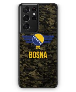 Samsung Galaxy S21 Ultra Silikon Hülle - Bosna Bosnien Camouflage mit Schriftzug