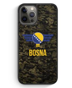 iPhone 12 Pro Silikon Hülle - Bosna Bosnien Camouflage mit Schriftzug