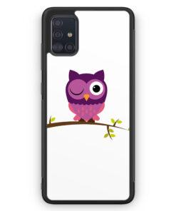 Samsung Galaxy A51 Silikon Hülle - Süße Lila Eule