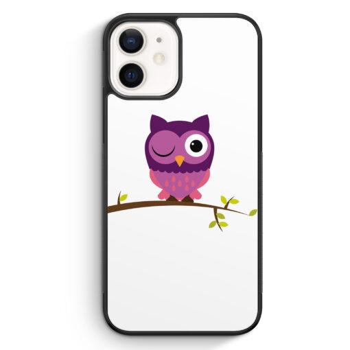 iPhone 12 mini Silikon Hülle - Süße Lila Eule