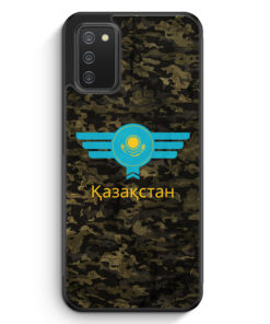 Kasachstan Kazakhstan Camouflage mit Schriftzug - Silikon Hülle für Samsung Galaxy A02s