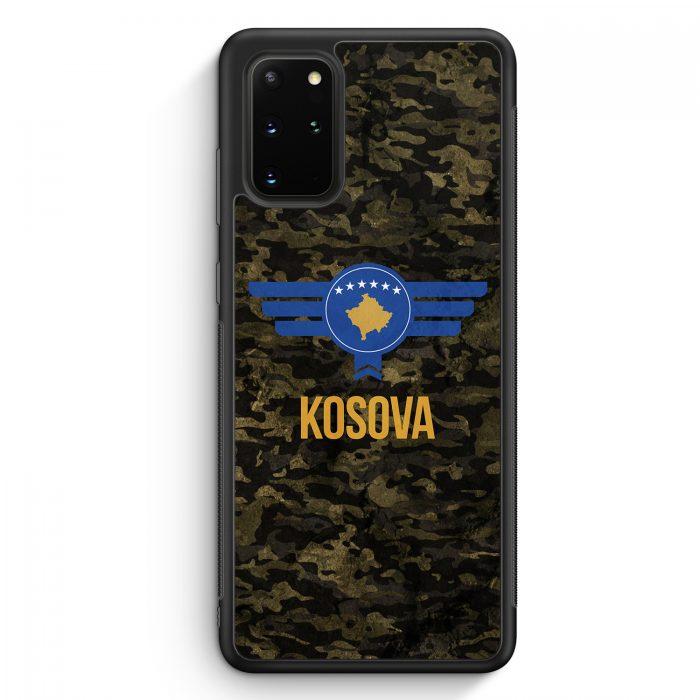 Samsung Galaxy S20+ Plus Silikon Hülle - Kosova Kosovo Camouflage mit Schriftzug