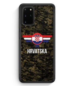 Samsung Galaxy S20+ Plus Silikon Hülle - Hrvatska Kroatien Camouflage mit Schriftzug