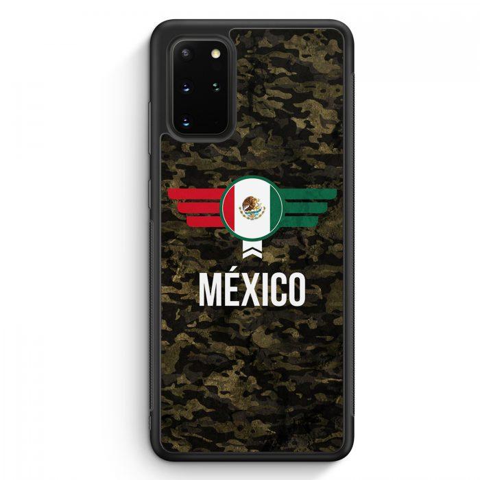 Samsung Galaxy S20+ Plus Silikon Hülle - Mexico Mexiko Camouflage mit Schriftzug