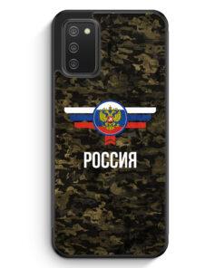 Russland Rossija Camouflage mit Schriftzug - Silikon Hülle für Samsung Galaxy A02s