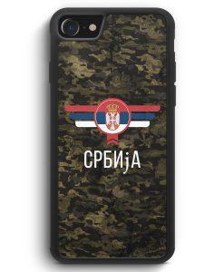 iPhone SE 2020 Silikon Hülle - Srbija Serbien Camouflage mit Schriftzug