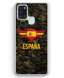 Samsung Galaxy A21s Hülle - Espana Spanien Camouflage mit Schriftzug