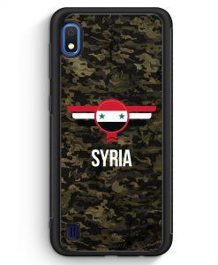 Samsung Galaxy A10 Silikon Hülle - Syrien Syria Camouflage mit Schriftzug