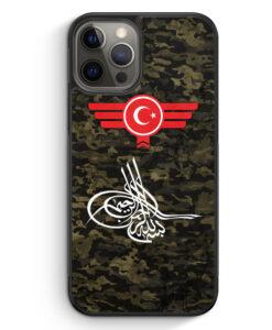 iPhone 12 Pro Silikon Hülle - Osmanli Tugrasi Türkiye Türkei Camouflage